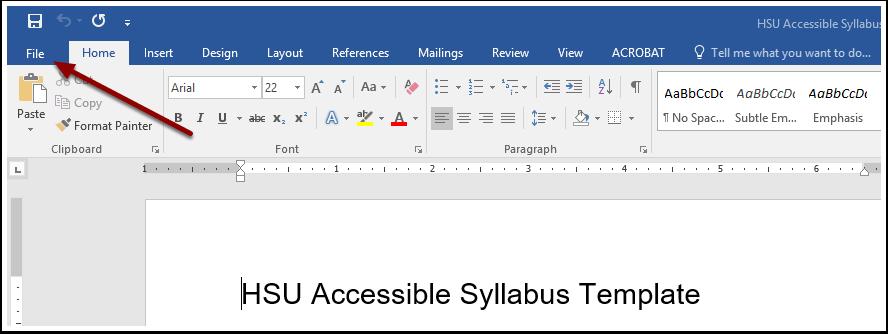 Microsoft Word File Button