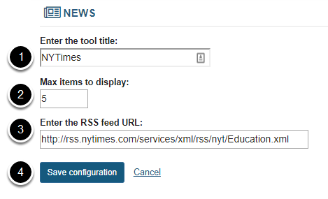 Enter or edit the News item information and save.