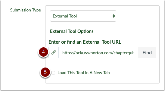 Canvas assignment external tool link url