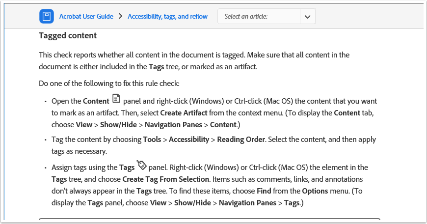 Acrobat User Guide - Tagged content section