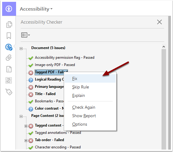 Acrobat Pro Accessibility Checker results - Fix button