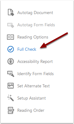 Acrobat Pro Accessibility Toolbar - Full Check button