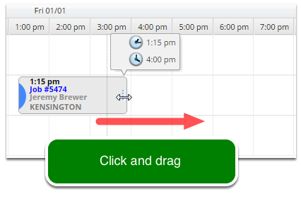 To increase the time allowed click the edge and drag