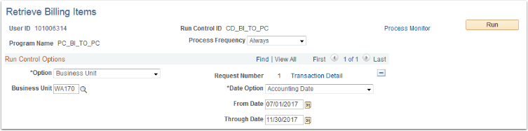 Retrieve Billing Items section