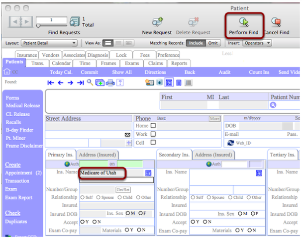 "Enter find criteria (you may find on any field or combination of fields).  Then click ""Perform Find""."