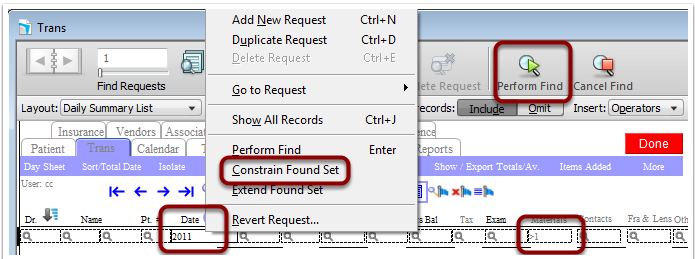 "Find > Same Date > Materials greater than 1 > Requests (very top) > ""Constrain Found Set"""