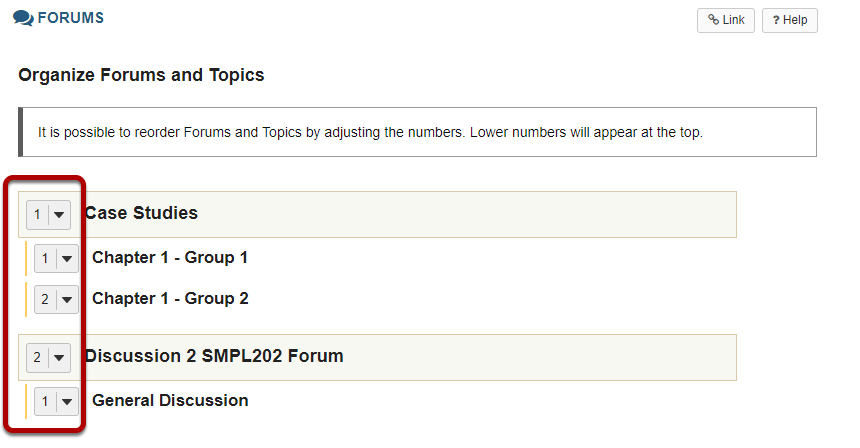 Select the appropriate number next to the Forum or Topic
