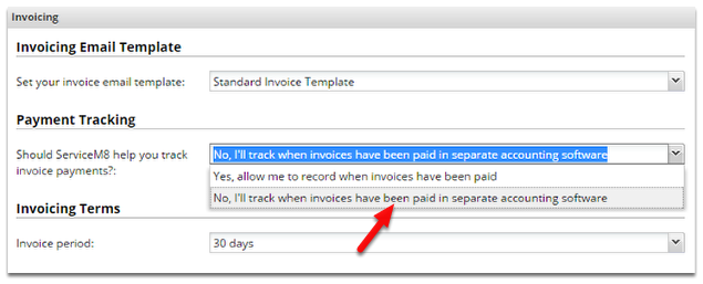 Change this payment tracking to No.