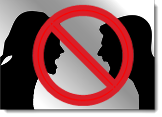 decorative: two people shouting