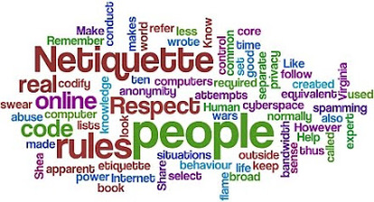 decorative word group about netiquette