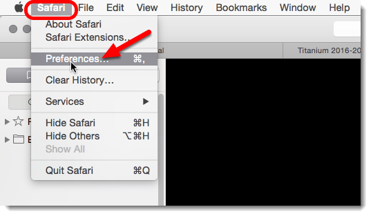 then click on Safari then on Preferences.