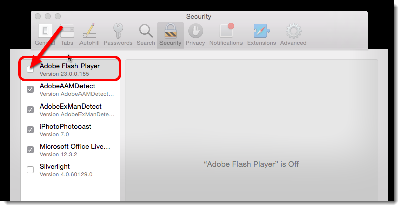 Check the Adobe Flash Player box.