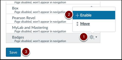 Enable Badges for Course Navigation Menu