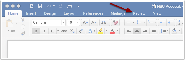 Microsoft Word Review Tab
