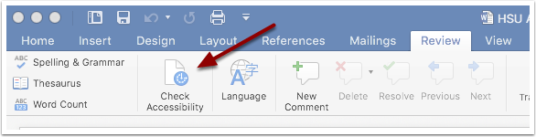 Microsoft Word Accessibility Checker button