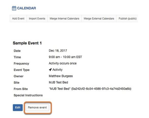 Click Remove event.