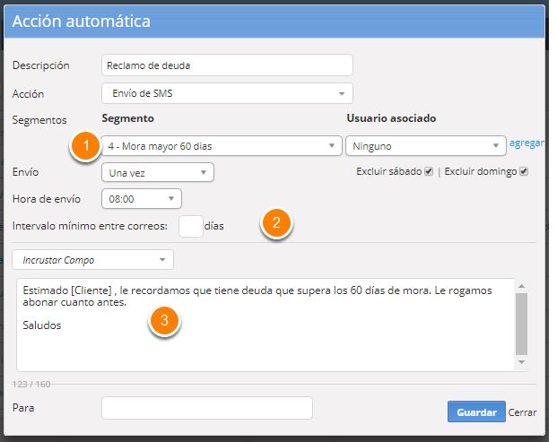 """Se abrirá el formulario para que configures el mail automático. Al finalizar haz clic en """"Guardar""""."""