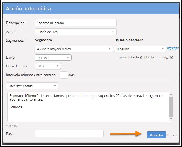 """Se abrirá la pantalla para que edites la acción automática. Al finalizar haz clic en """"Guardar""""."""
