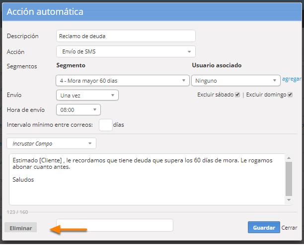 """Para eliminar el mail automático debes hacer clic en """"Eliminar""""."""