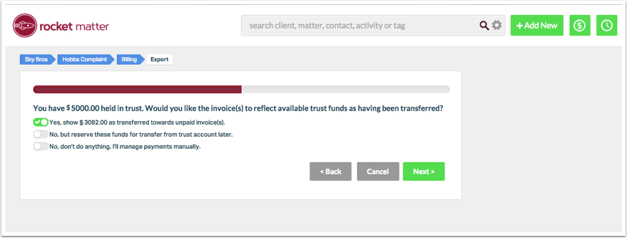 4. Choose how you would like available trust funds to be applied to the invoice.  Click 'Next'.