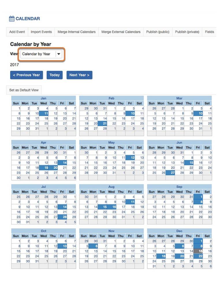 Calendar by year.