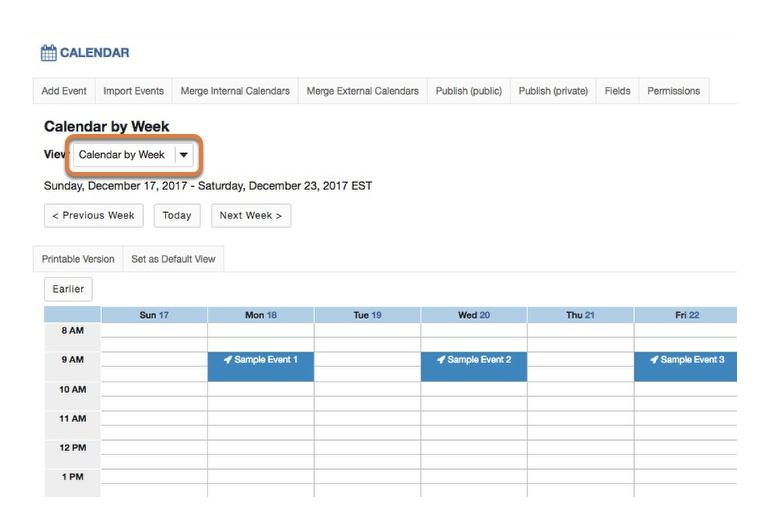 Calendar by week.