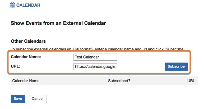 Enter the calendar name and URL.