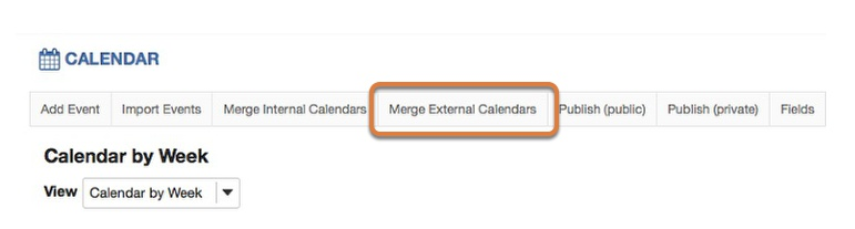 Select Merge External Calendars.