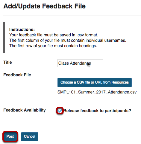 Add/Update Feedback File screen with Feedback Availability check box and Post button highlighted.