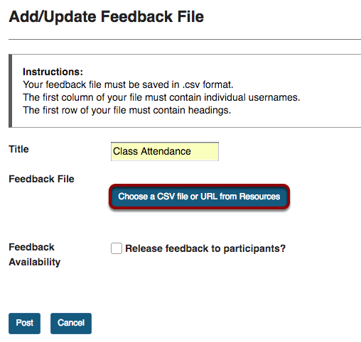 Add/Update Feedback File screen with Choose a CSV file or URL from Resources button highlighted.