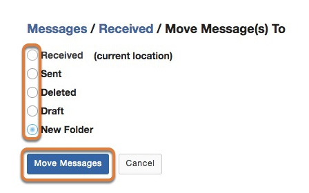 Select the destination for the message and complete the move