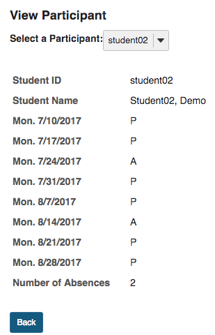 Student view of class attendance feedback showing dates and presence/absence.