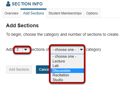 Select the number of sections and a category.