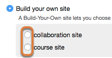 Build your own site option