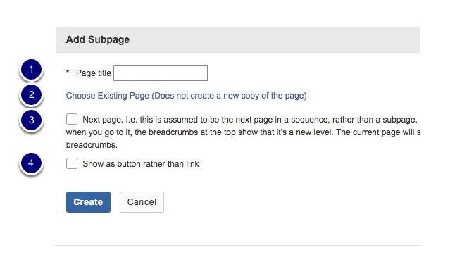 Enter subpage information
