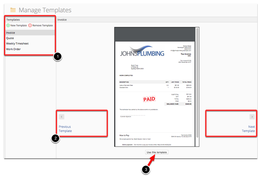 From this page, you are able to select the type of template you wish to customize (Invoice/Quote/Work Order/etc), and then browse left and right through the sample templates using the blue arrow buttons.