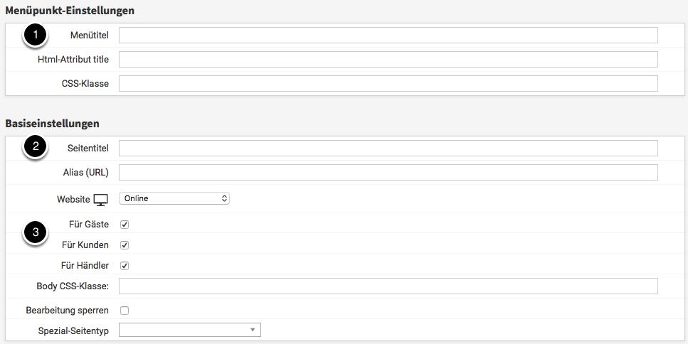 Seite konfigurieren