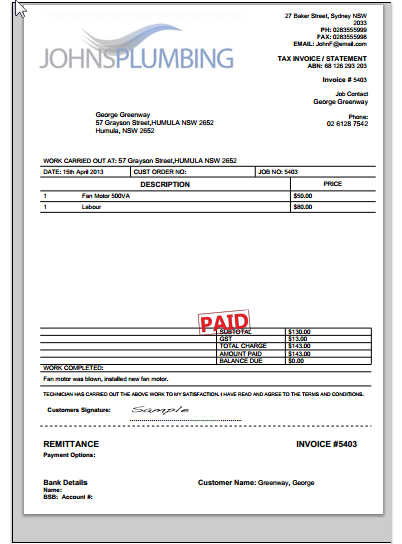 The template now includes both 'Amount Paid' and 'Balance Due'