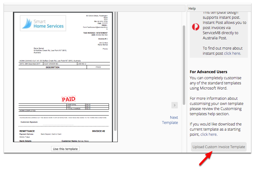 Go back to ServiceM8 Document Templates and click Upload Custom Invoice Template
