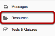 Resources tool highlighted the site Tool Menu.