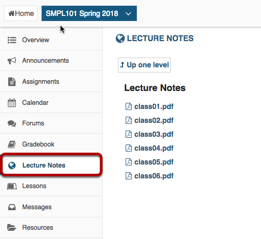 Web content link for Lecture Notes highlighted with display of Lecture Notes folder and files.