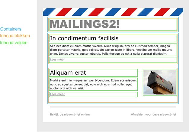 Onderdelen van een Mailing template