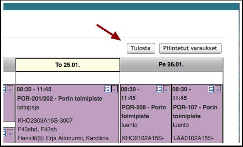 KUVA: Lukujärjestyksen tulostaminen