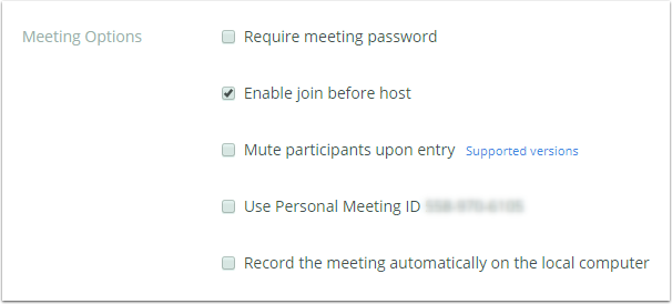 Meeting options