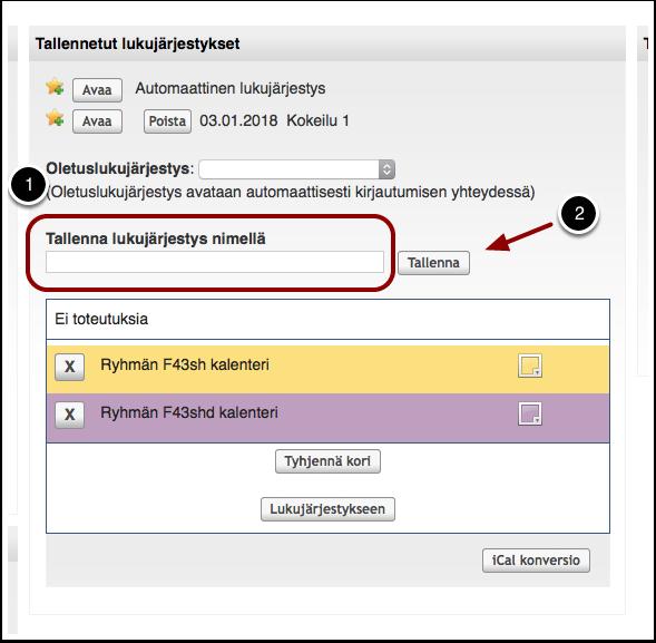 KUVA: Lukujärjestyksen tallentaminen