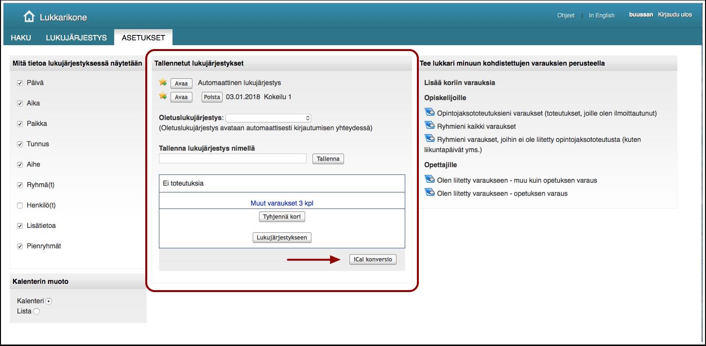 KUVA: Lukujärjestyksen kopioiminen sähköpostin kalenteriin