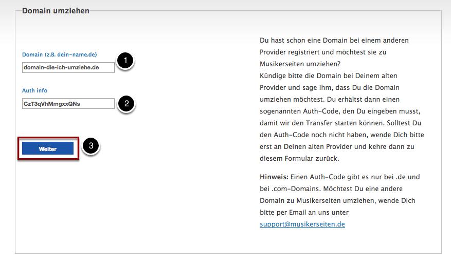 Fülle Domain-Namen und Auth-Code aus.