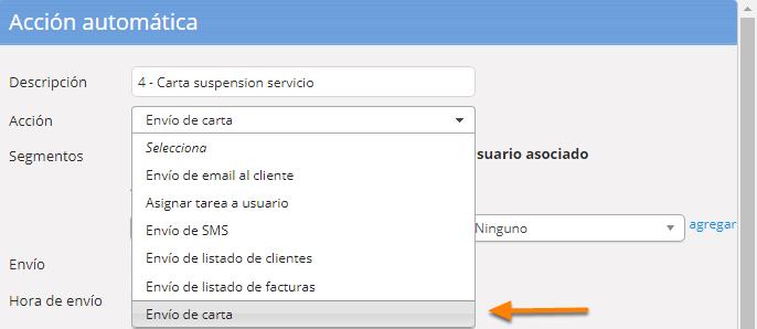 """Define el nombre de la acción automática y selecciona la acción """"Envío de email al cliente""""."""