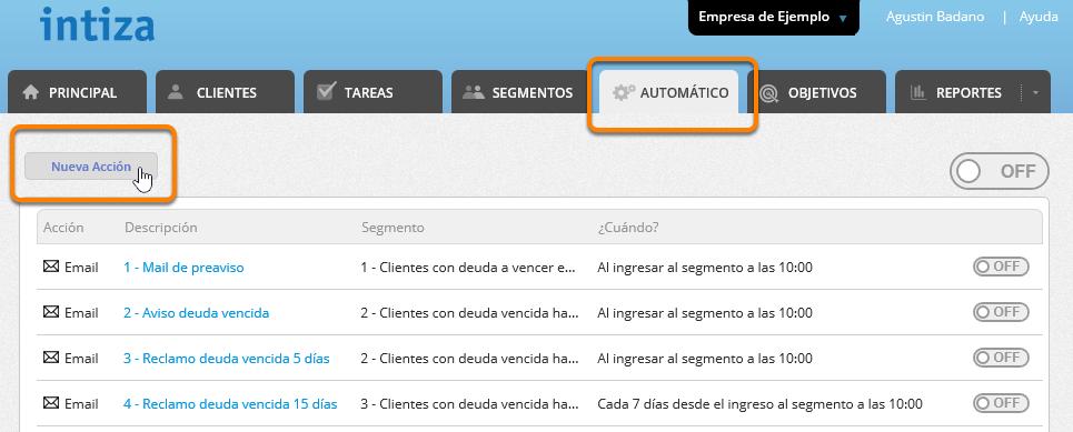 """Ve a la solapa """"Automático"""" y haz clic en el botón """"Nueva Acción""""."""