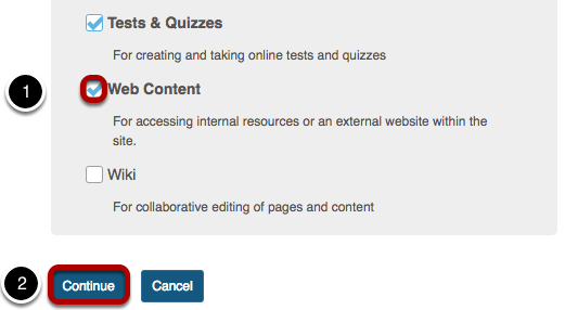 List of tools with Web Content tool checkbox highlighted and checked.